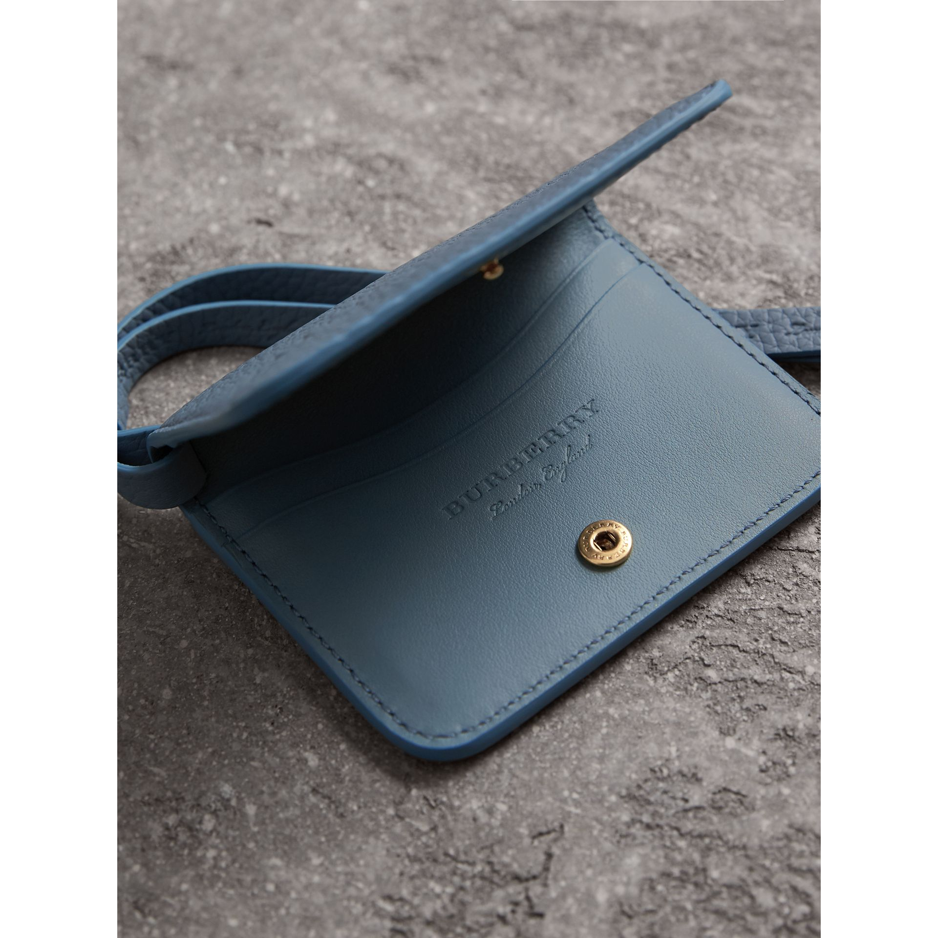 Embossed Leather ID Card Case Charm in Dusty Teal Blue - Women | Burberry United States - gallery image 3