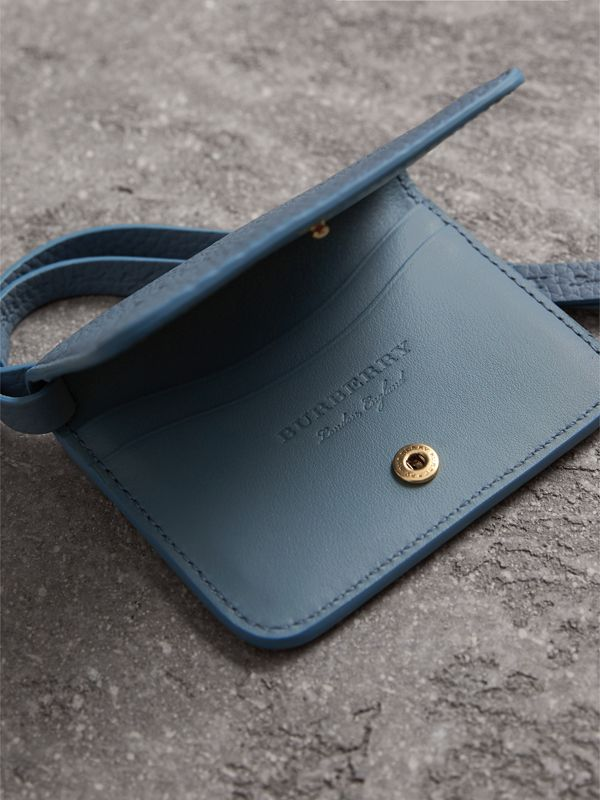 Embossed Leather ID Card Case Charm in Dusty Teal Blue | Burberry - cell image 3
