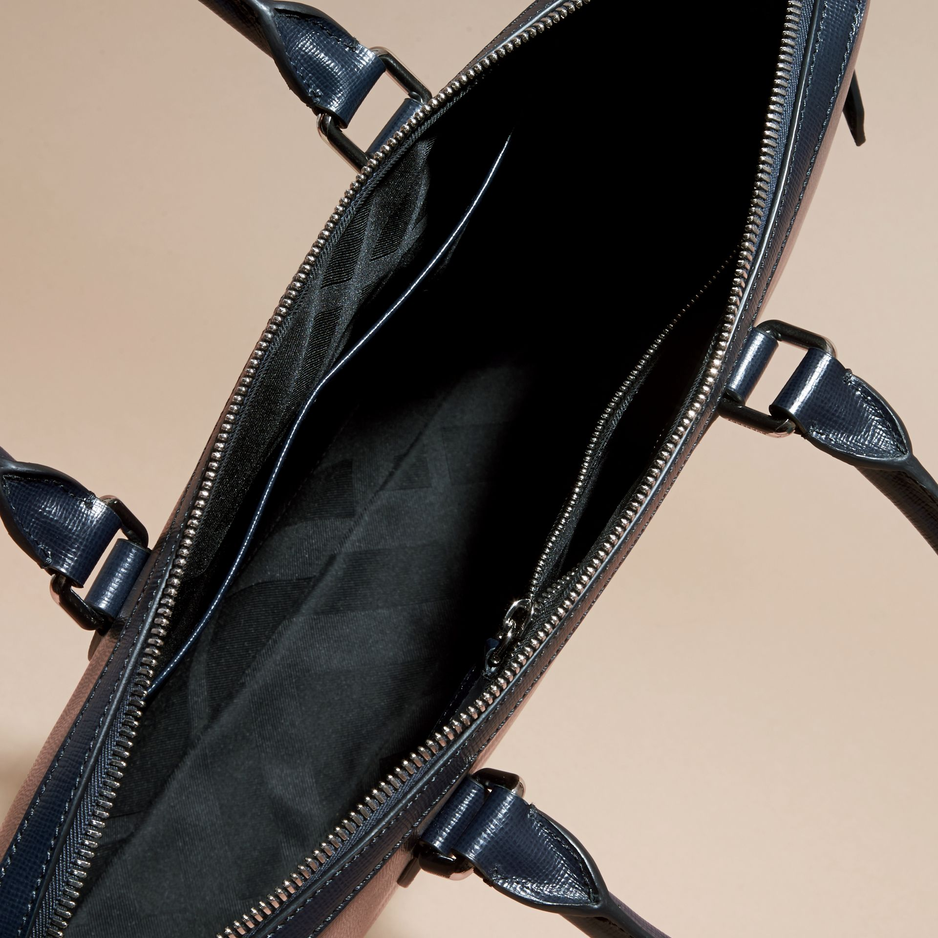 Dark navy/mineral blue The Slim Barrow in Panelled London Leather Dark Navy/mineral Blue - gallery image 5