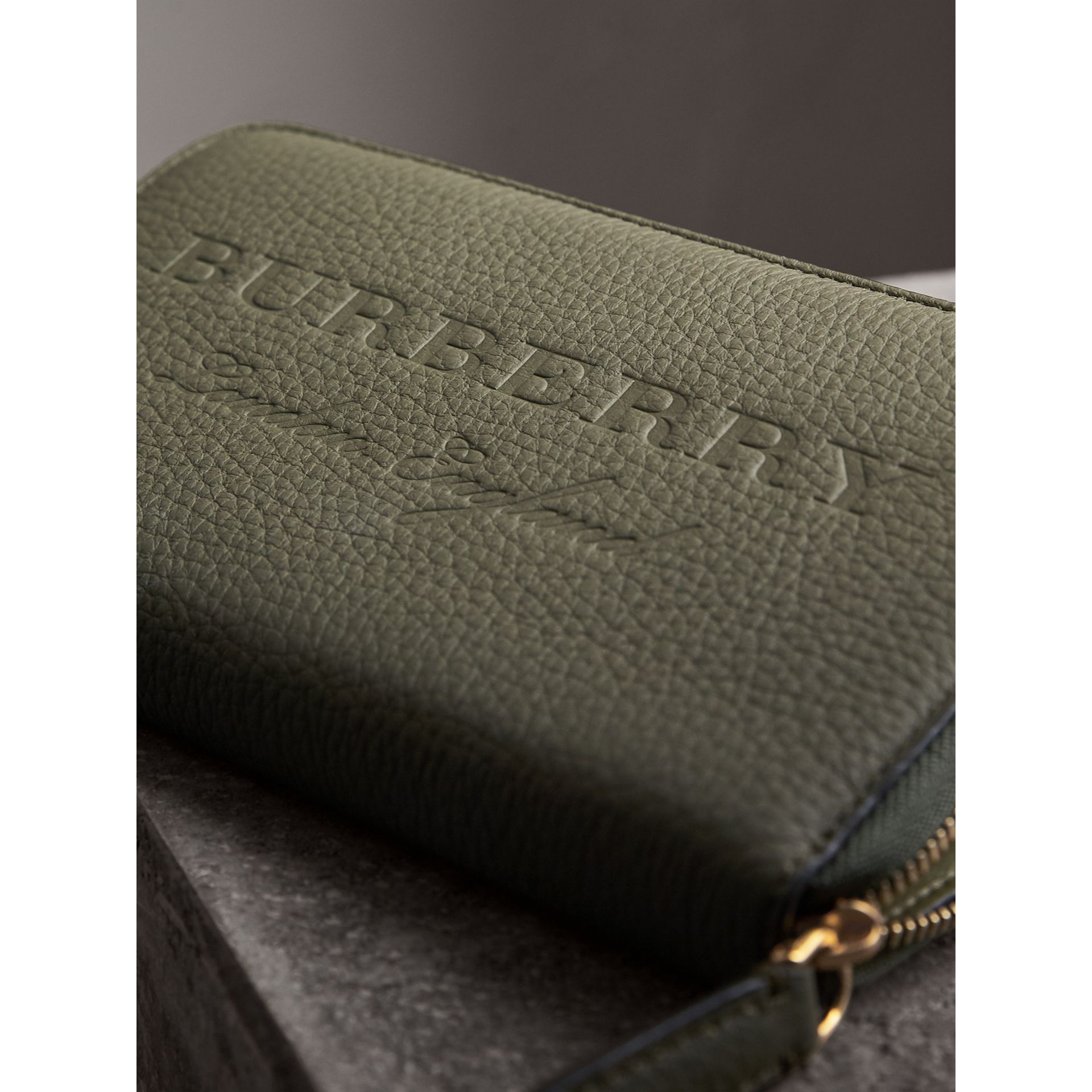 Embossed Grainy Leather Ziparound Wallet in Slate Green - Men | Burberry - gallery image 2