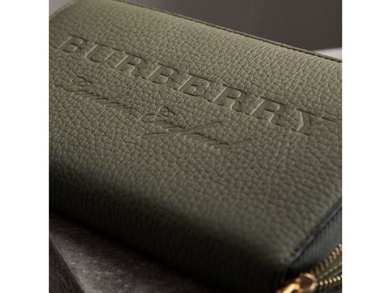 Embossed Grainy Leather Ziparound Wallet in Slate Green - Men | Burberry - cell image 1