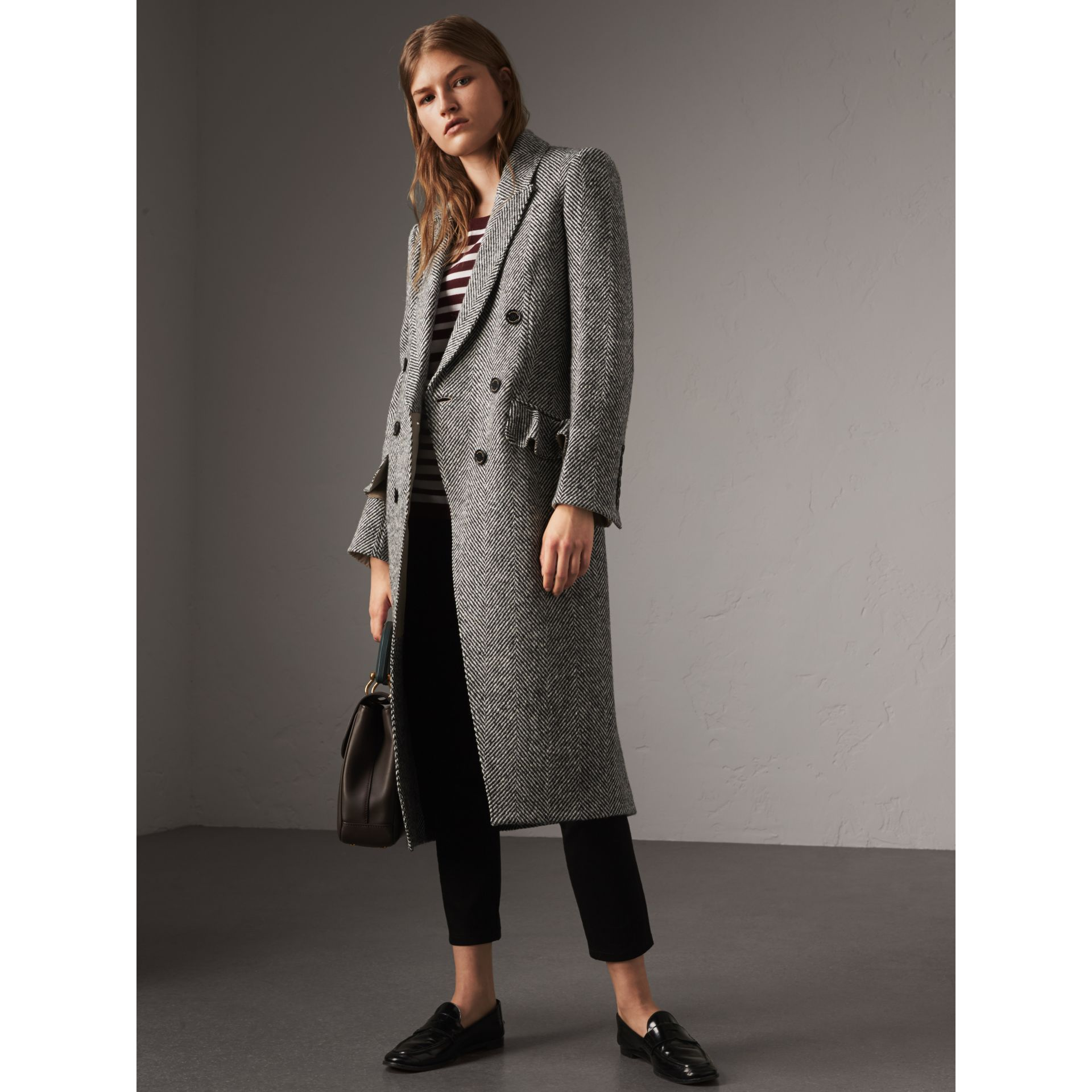 Donegal Herringbone Wool Tweed Tailored Coat in Black - Women | Burberry Singapore - gallery image 6