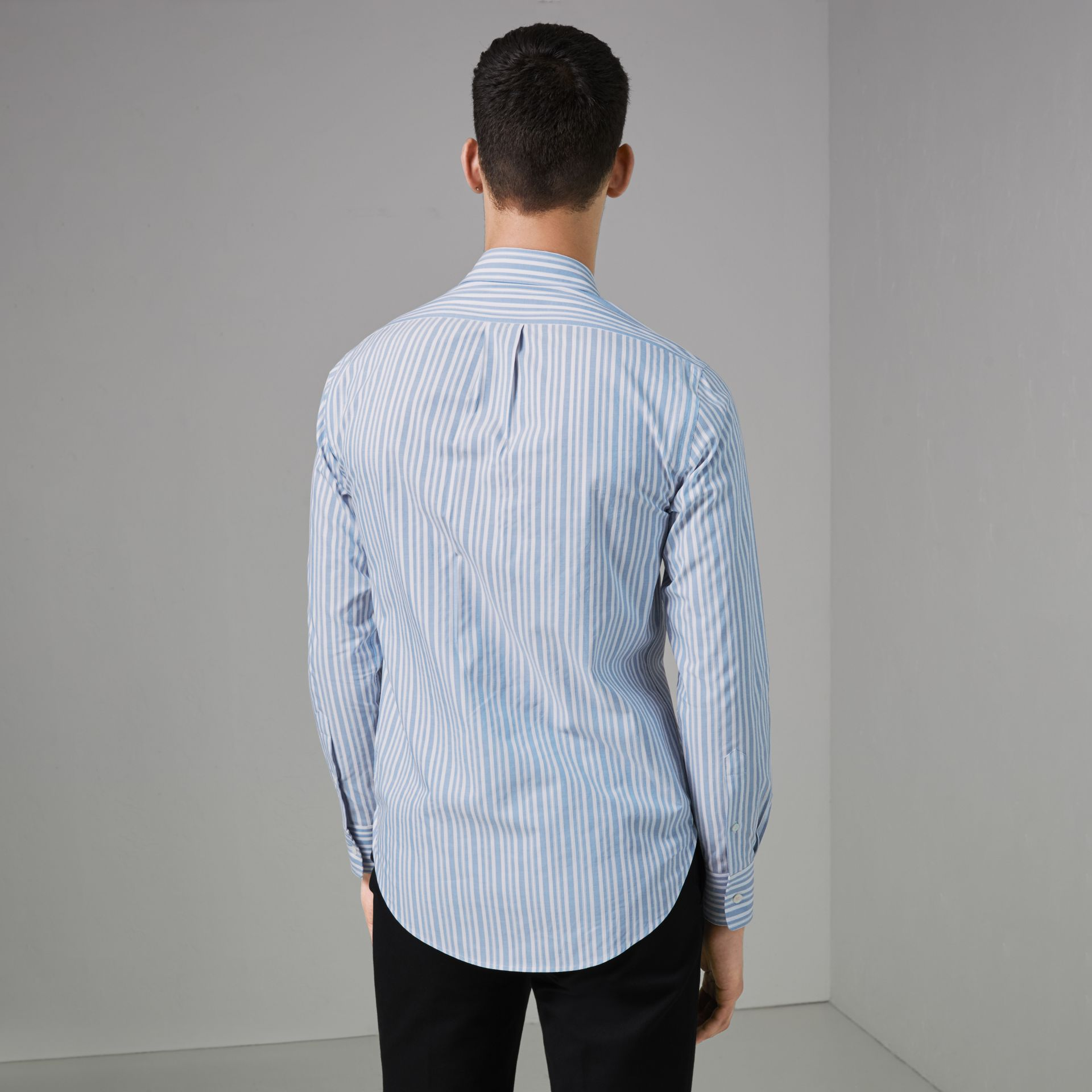 Embroidered Archive Logo Striped Cotton Shirt in Powder Blue - Men | Burberry - gallery image 2