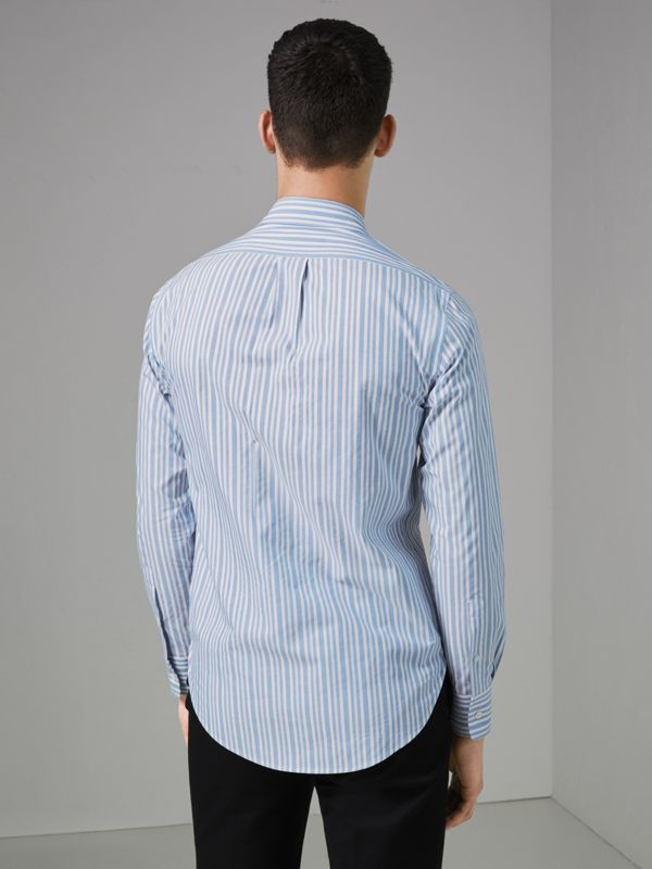 Embroidered Archive Logo Striped Cotton Shirt in Powder Blue - Men | Burberry - cell image 2
