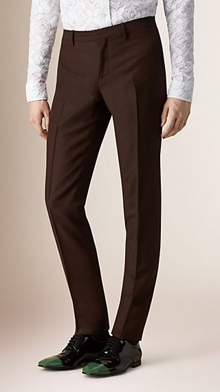 Slim Fit Mohair Wool Tailored Trousers