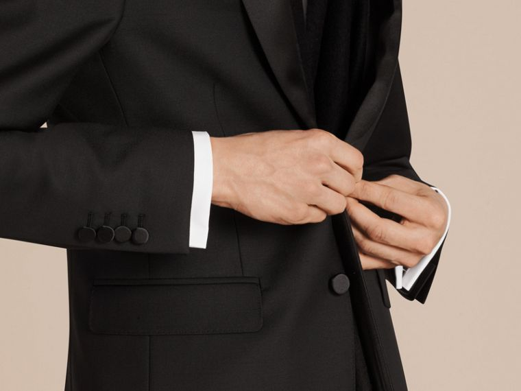 Black Modern Fit Wool Mohair Half-canvas Tuxedo - cell image 1