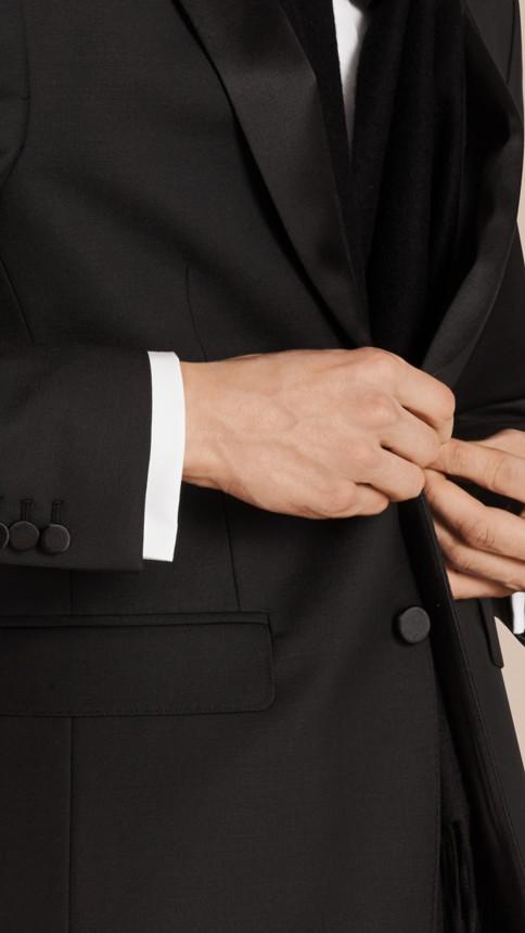 Black Modern Fit Wool Mohair Half-canvas Tuxedo - Image 2