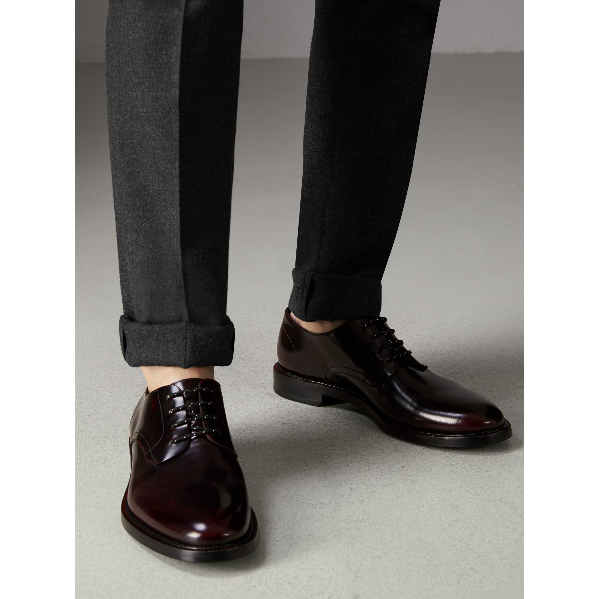 Polished Leather Derby Shoes in Rust Red - Men | Burberry Singapore - gallery image 2