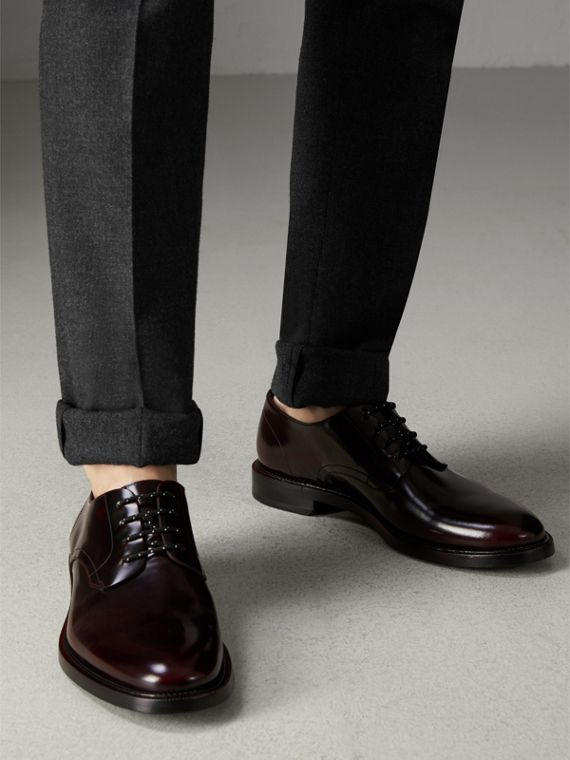 Polished Leather Derby Shoes in Rust Red - Men | Burberry Singapore - cell image 2
