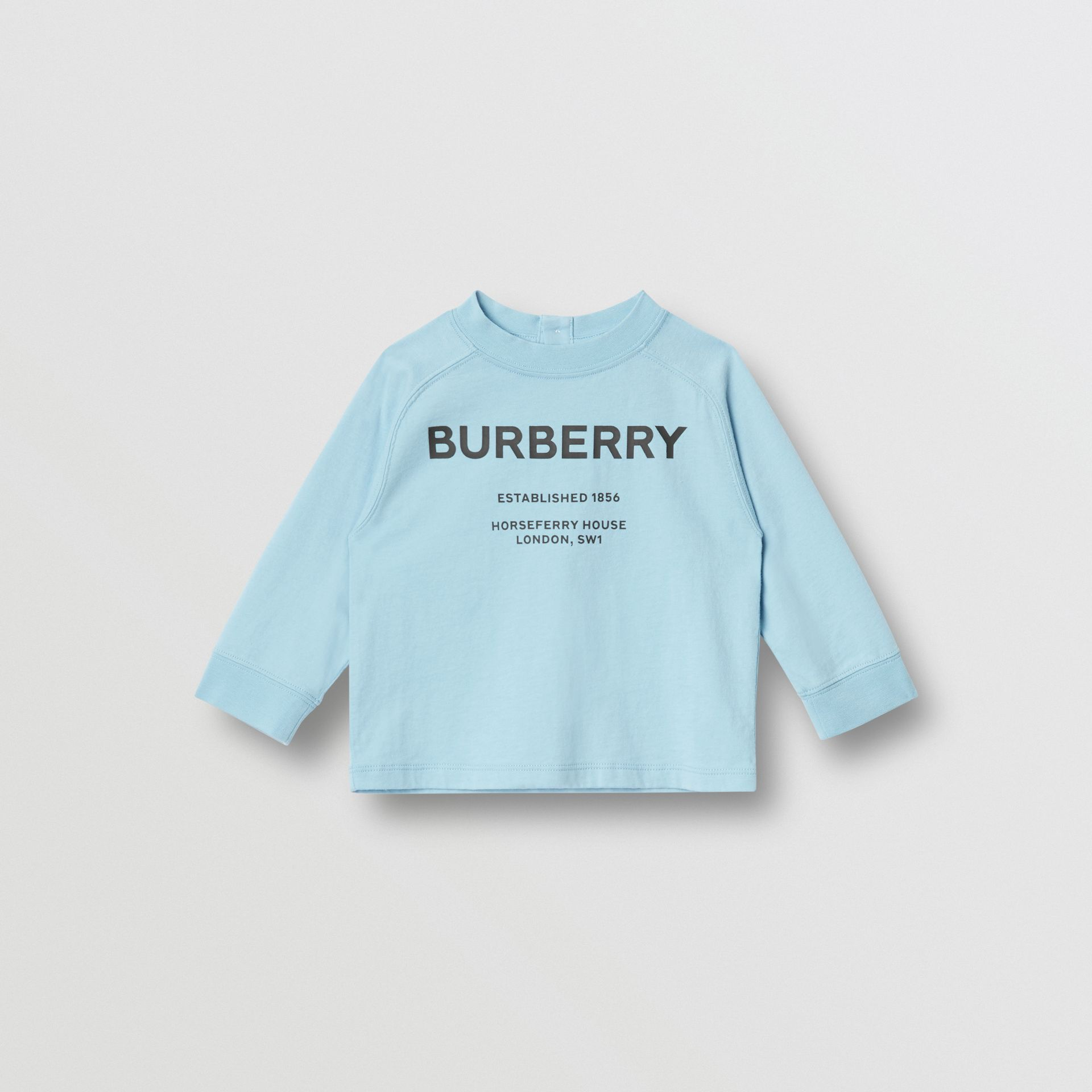 Long-sleeve Horseferry Print Cotton Top in Powder Blue - Children | Burberry - gallery image 0