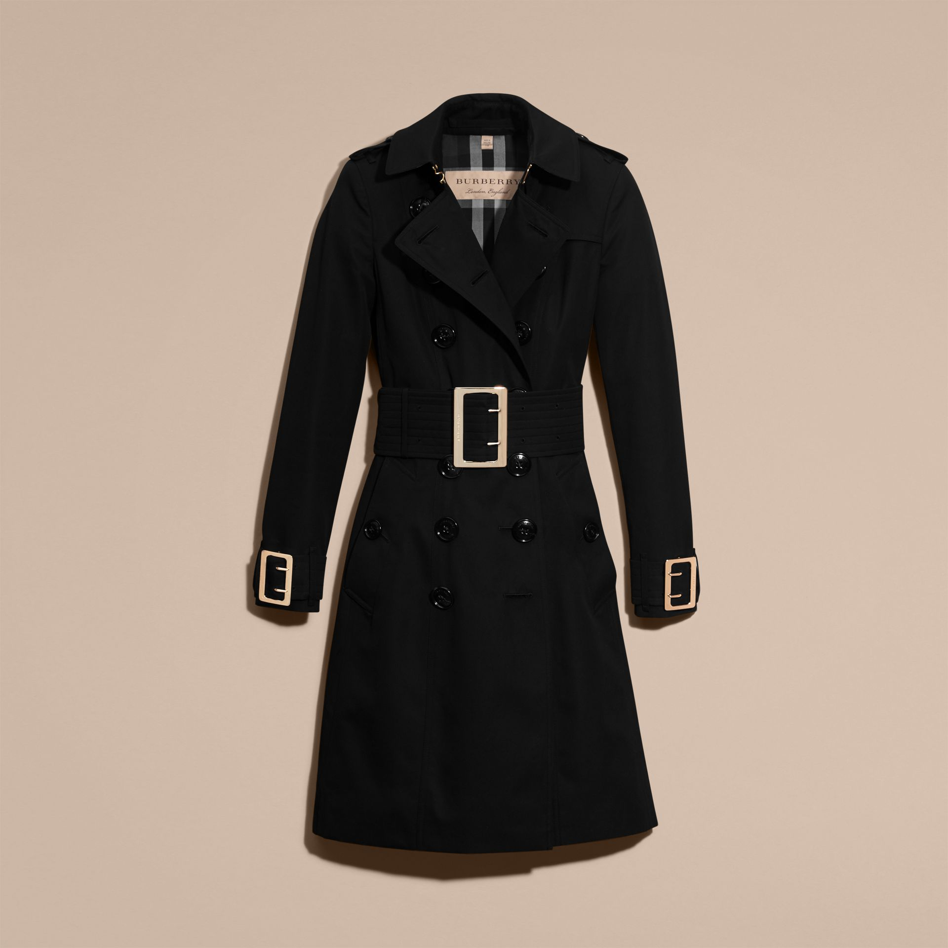 Cotton Gabardine Trench Coat with Oversize Buckles - gallery image 4