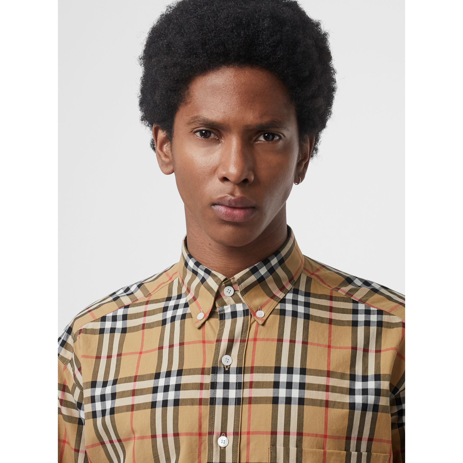 Button-down Collar Vintage Check Cotton Shirt in Antique Yellow - Men | Burberry United Kingdom - gallery image 1