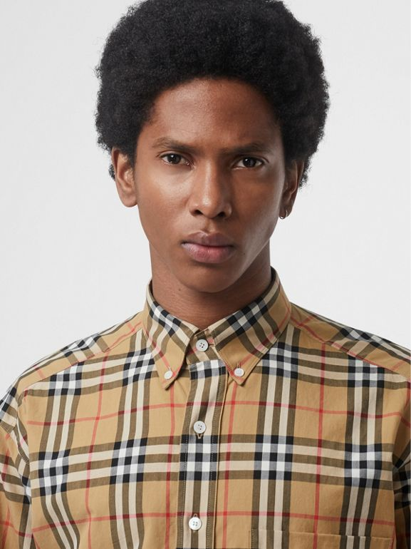 Button-down Collar Vintage Check Cotton Shirt in Antique Yellow - Men | Burberry Singapore - cell image 1