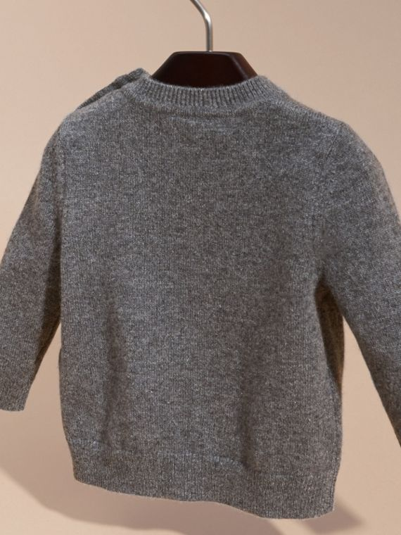 Mid grey melange Rocket Intarsia Cashmere Sweater - cell image 3