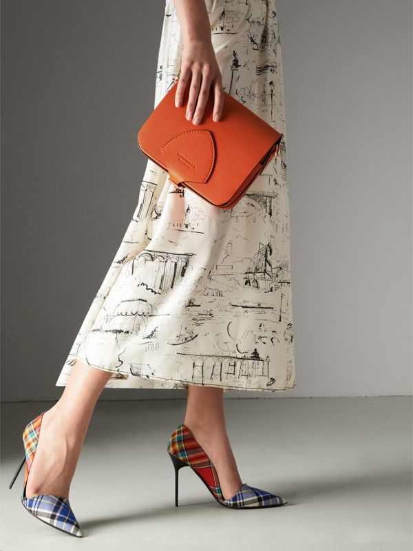 The Square Satchel in Leather in Clementine - Women | Burberry Australia - cell image 3