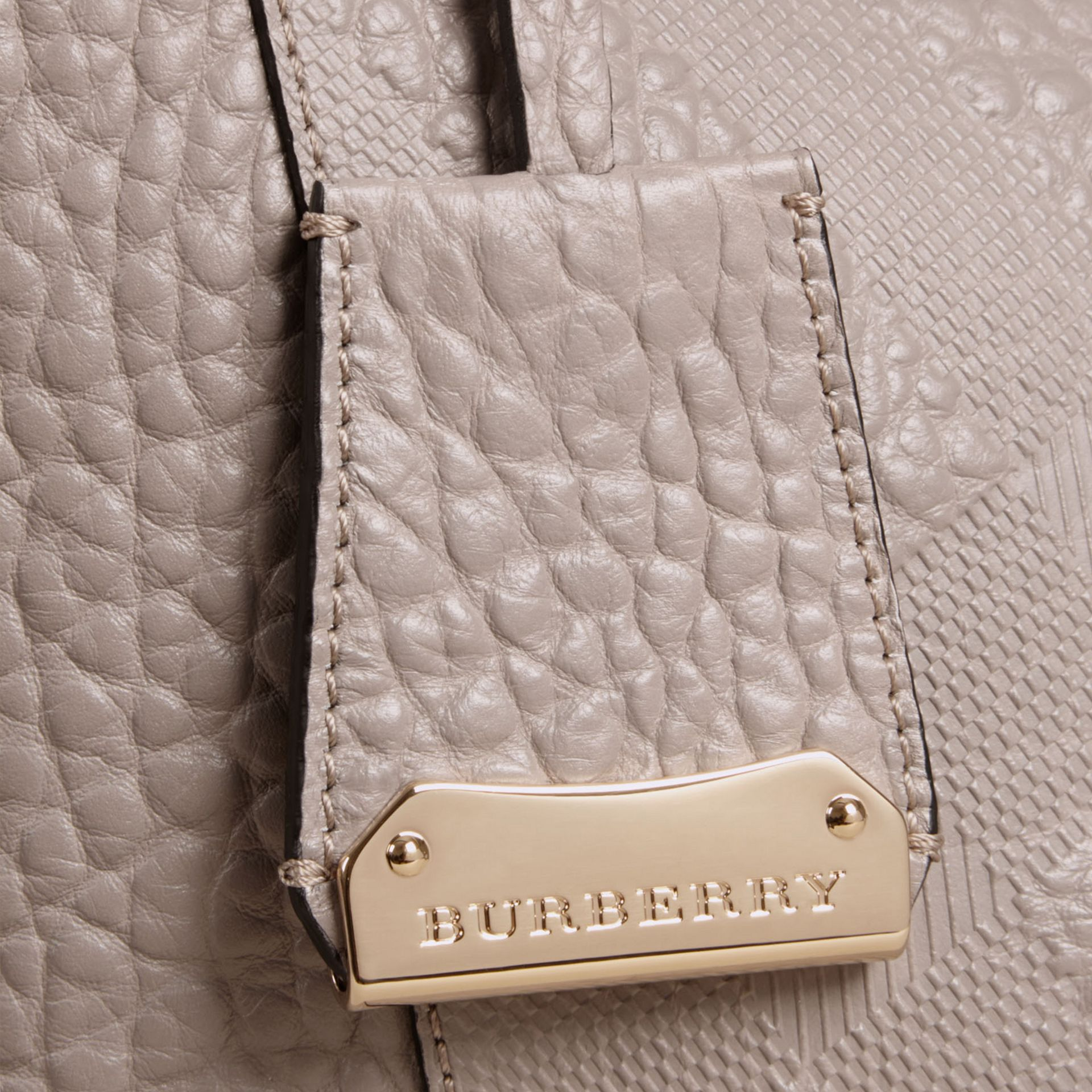 Pale grey The Small Canter in Check Embossed Leather Pale Grey - gallery image 6