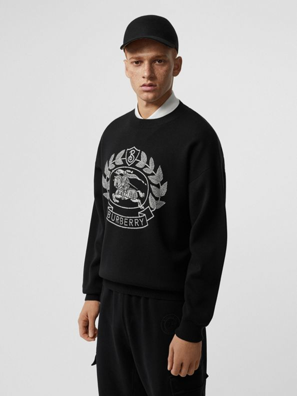 Crest Merino Wool Blend Jacquard Sweater in Black