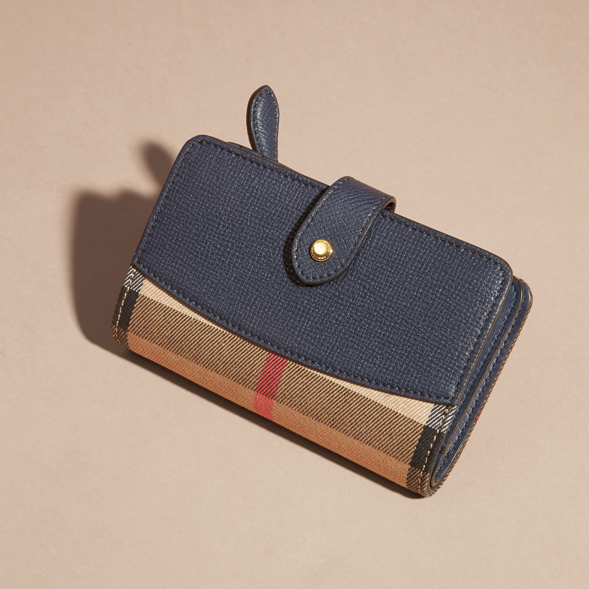 House Check and Leather Wallet in Ink Blue - gallery image 6