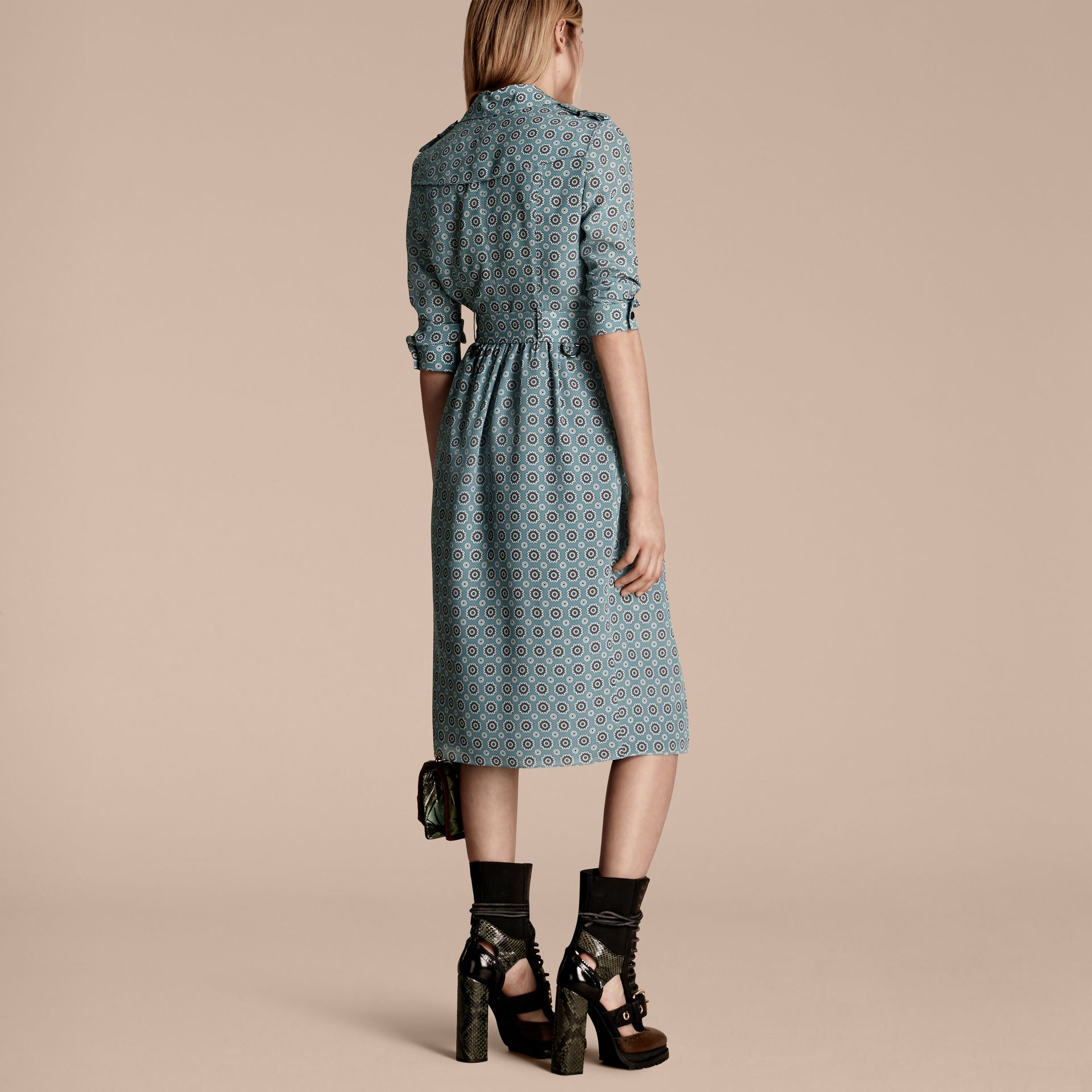 Pale stone blue Pyjama Print Silk Trench Dress - gallery image 3