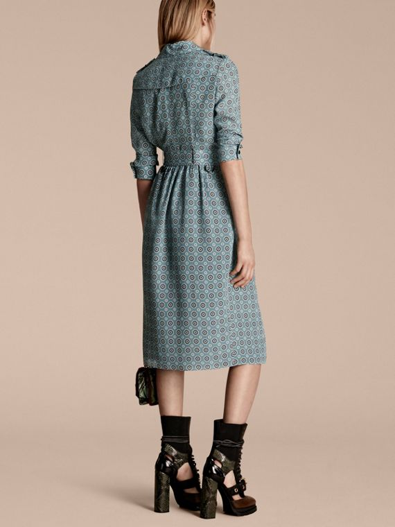 Pale stone blue Pyjama Print Silk Trench Dress - cell image 2