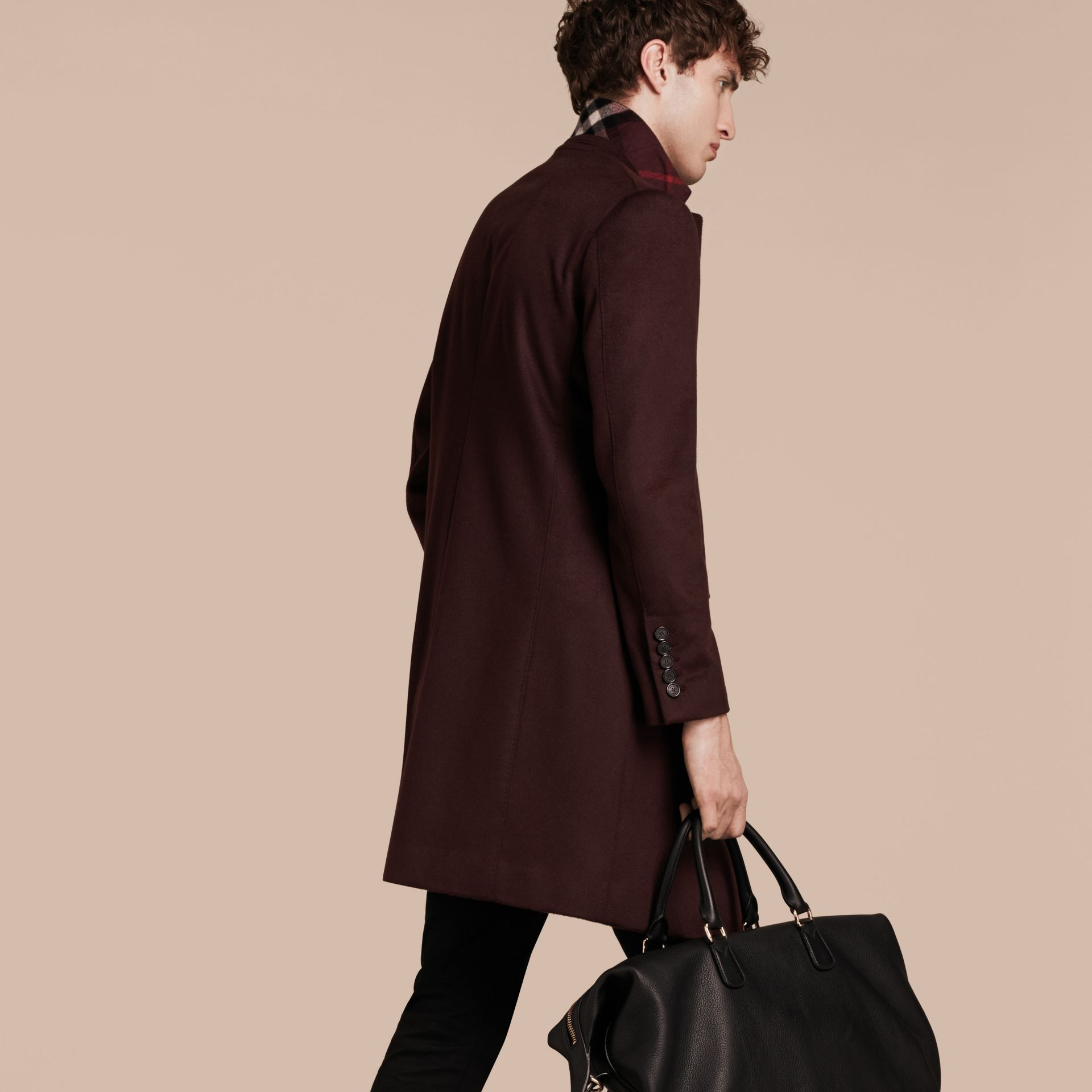 Plum Cashmere Overcoat - gallery image 3