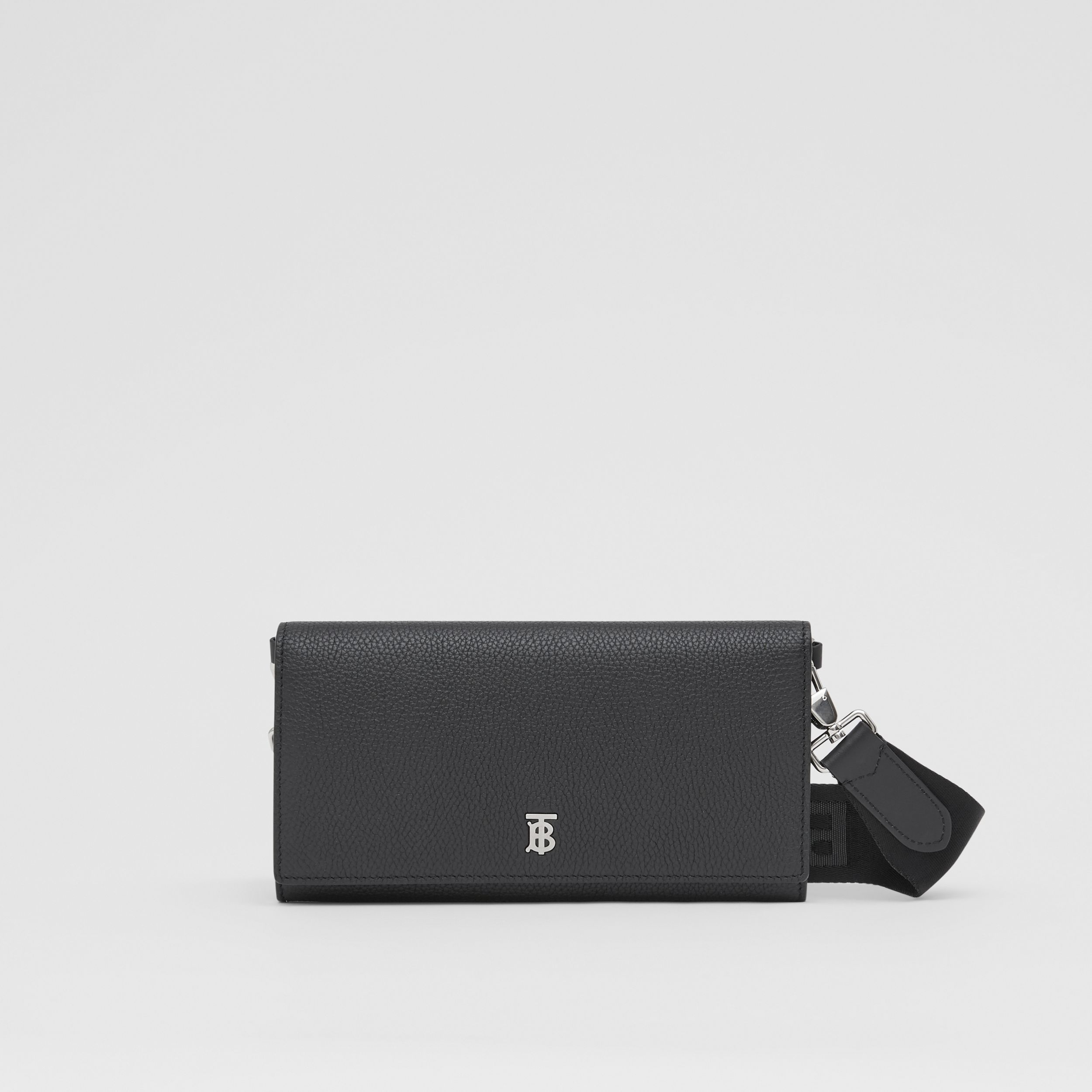Grainy Leather Wallet with Detachable Strap in Black | Burberry - 1
