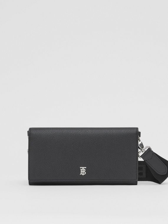 Grainy Leather Wallet with Detachable Strap in Black