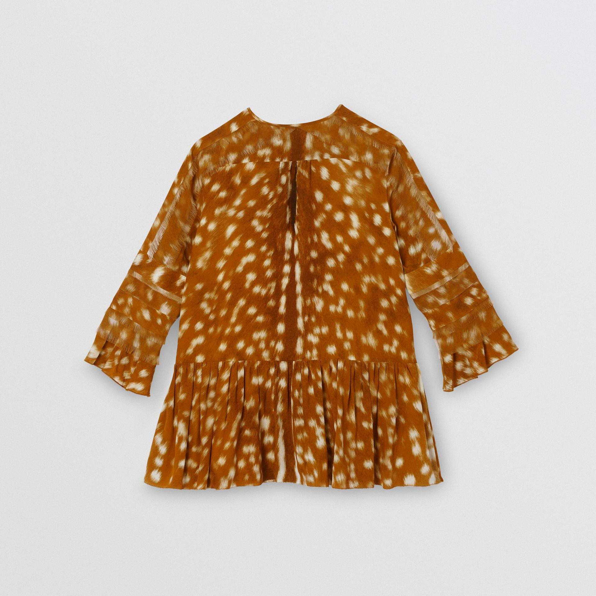 Ruffle Detail Deer Print Silk Dress in Honey | Burberry - gallery image 3