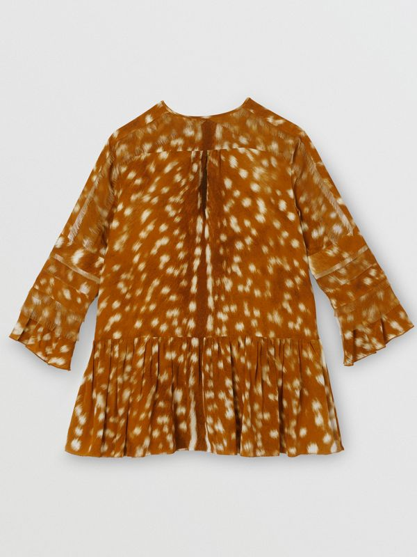 Ruffle Detail Deer Print Silk Dress in Honey | Burberry Singapore - cell image 3