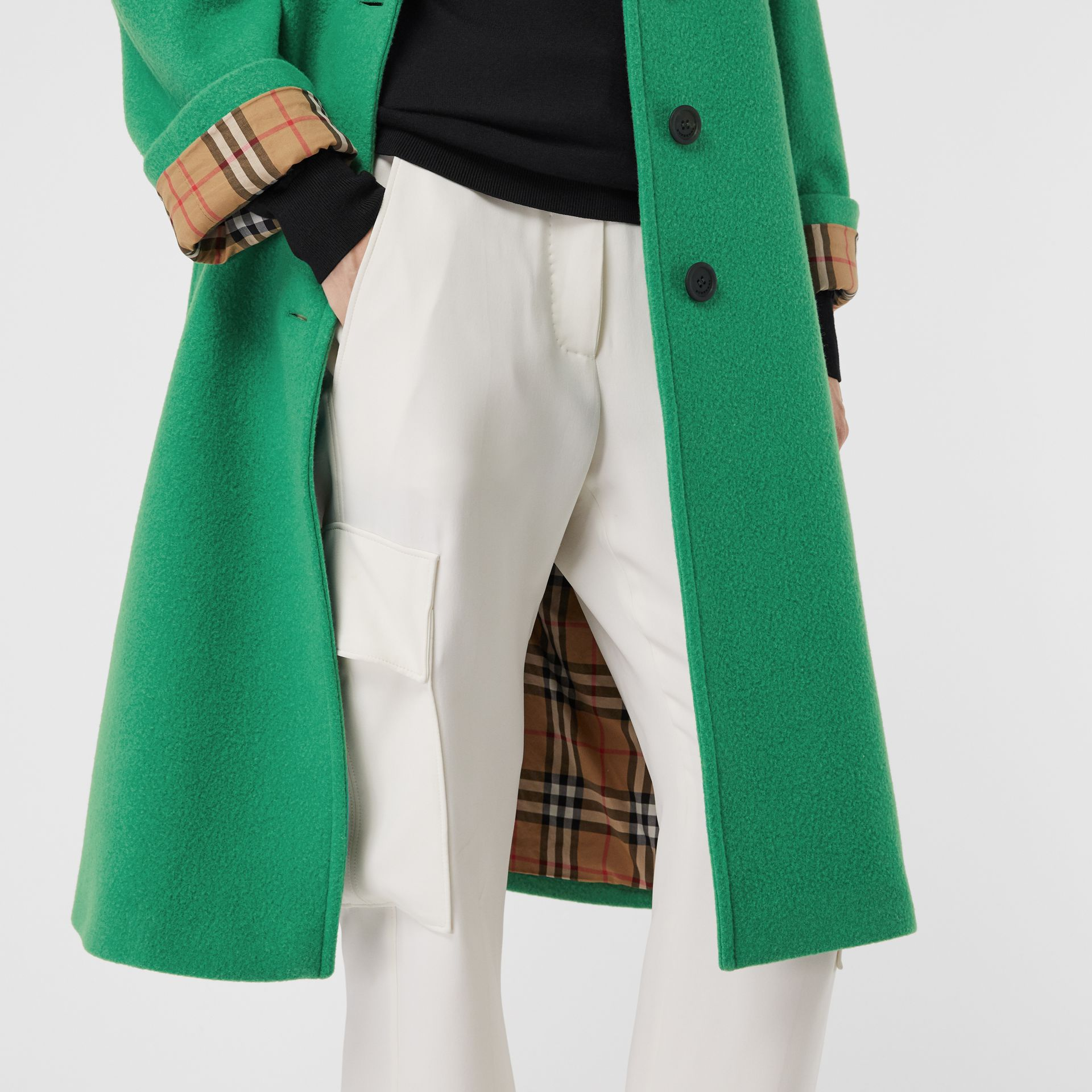 Wool Blend Tailored Coat in Bright Green - Women | Burberry United Kingdom - gallery image 1
