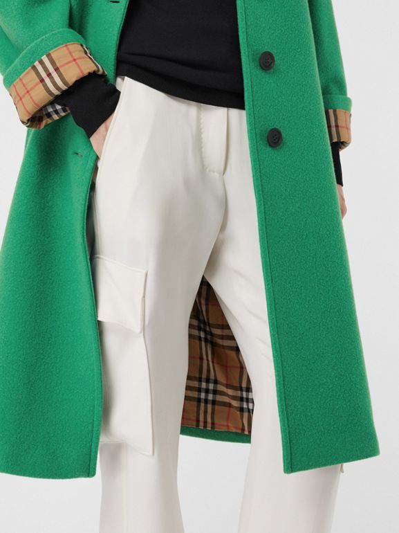 Wool Blend Tailored Coat in Bright Green - Women | Burberry Hong Kong - cell image 1