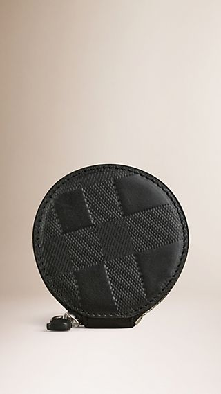 Embossed Check Leather Coin Case