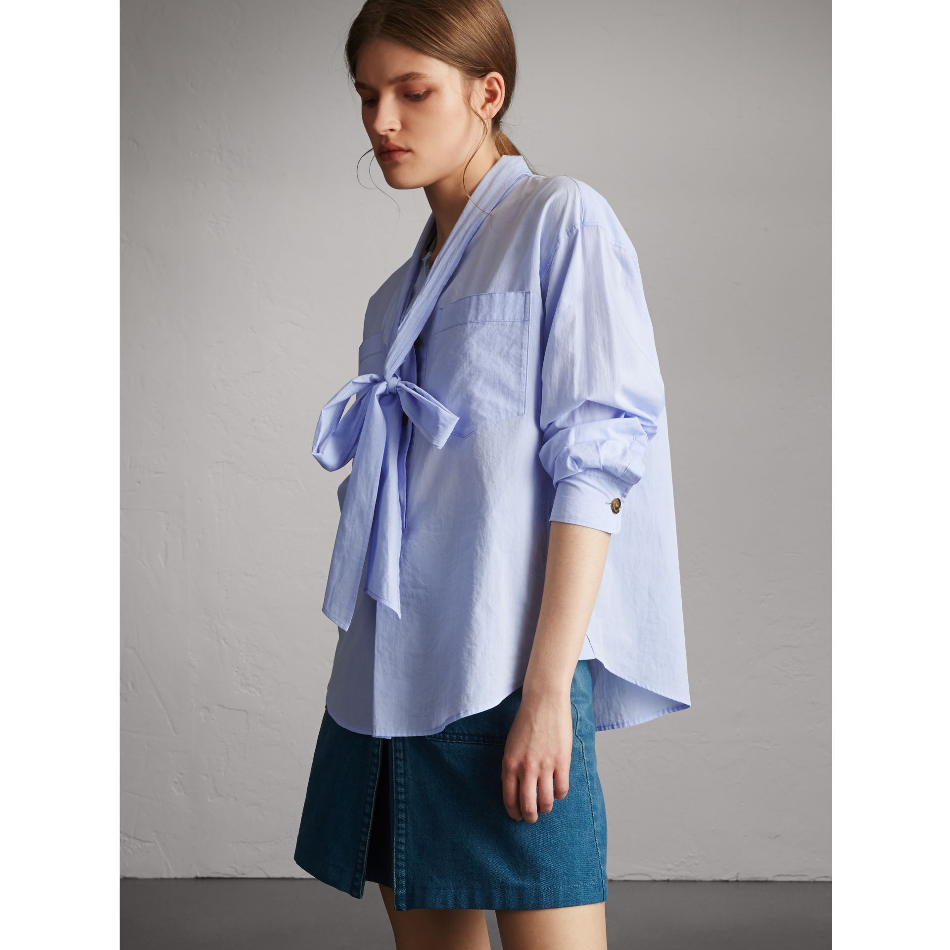 Cotton Tie Neck Shirt in Pale Blue - Women | Burberry - gallery image 1