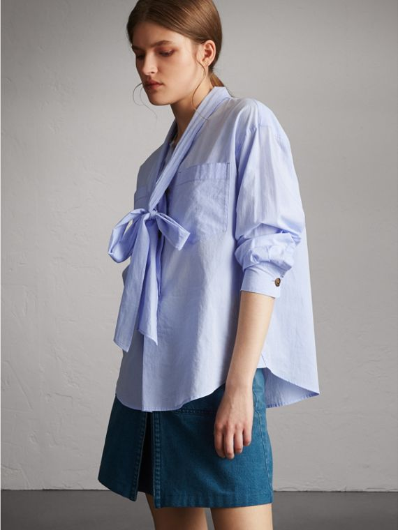 Cotton Tie Neck Shirt - Women | Burberry Australia