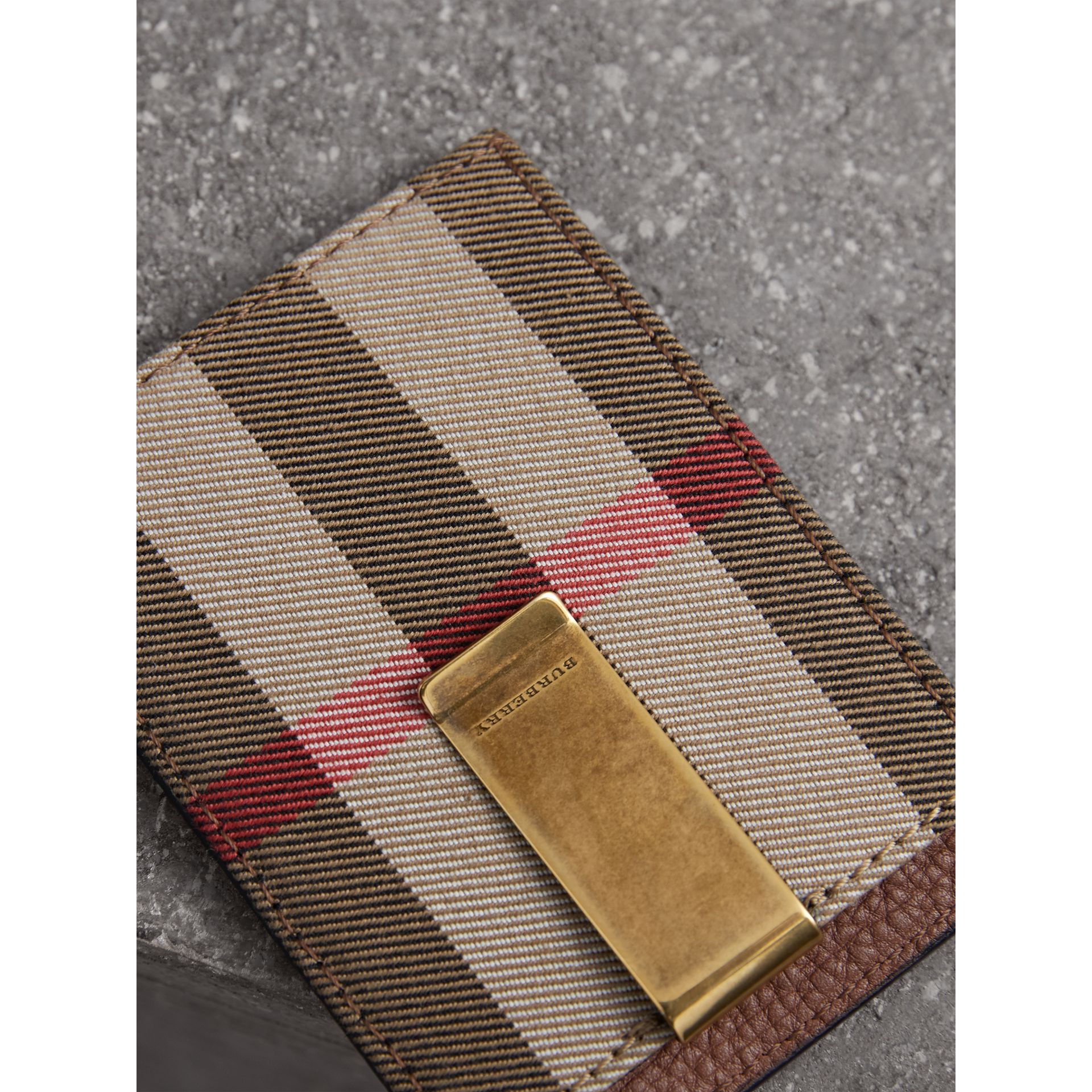House Check and Leather Money Clip Card Case in Chestnut Brown - Men | Burberry United States - gallery image 1