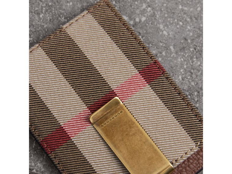 House Check and Leather Money Clip Card Case in Chestnut Brown - Men | Burberry United States - cell image 1