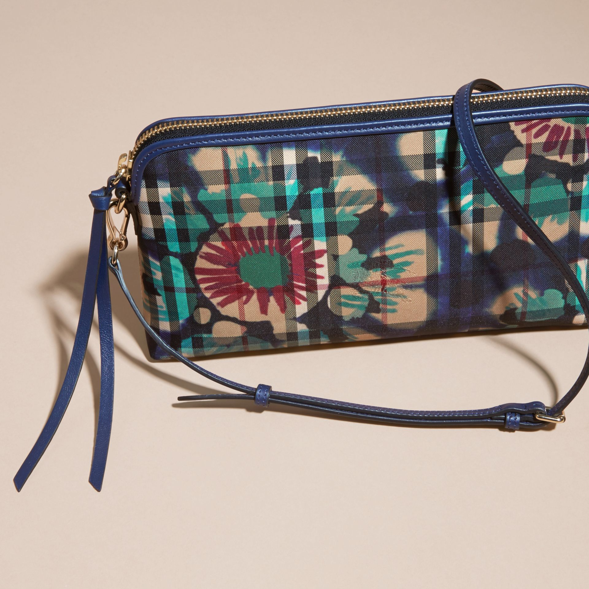 Navy/brilliant navy Tie-dye Print Horseferry Check and Leather Clutch Bag Navy/brilliant Navy - gallery image 7