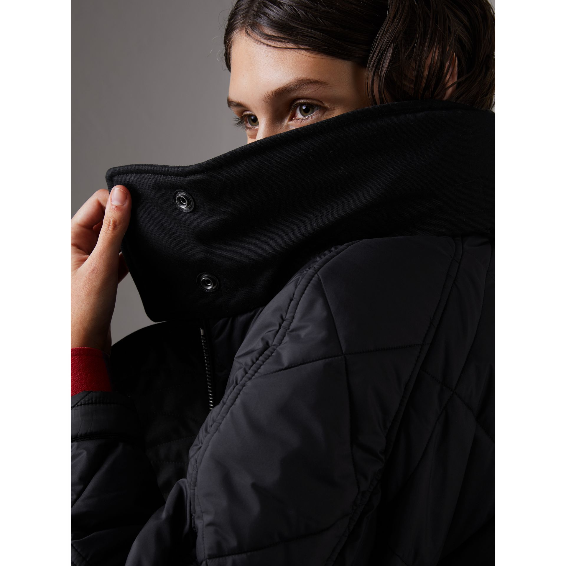 Packaway Hood Diamond Quilted Coat in Black - Women | Burberry Canada - gallery image 1