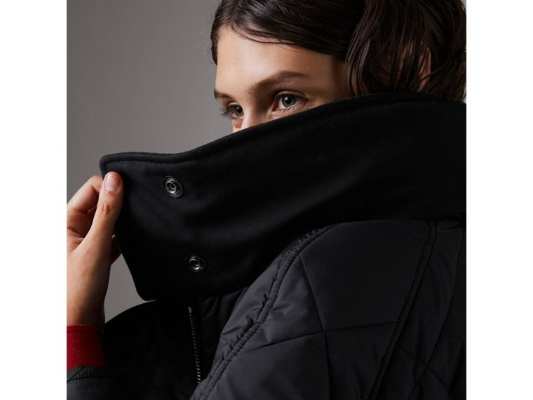 Packaway Hood Diamond Quilted Coat in Black - Women | Burberry - cell image 1