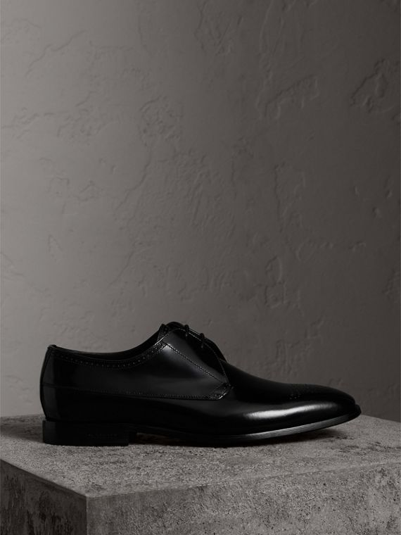 Perforated Detail Leather Derby Shoes in Black - Men | Burberry United Kingdom - cell image 3