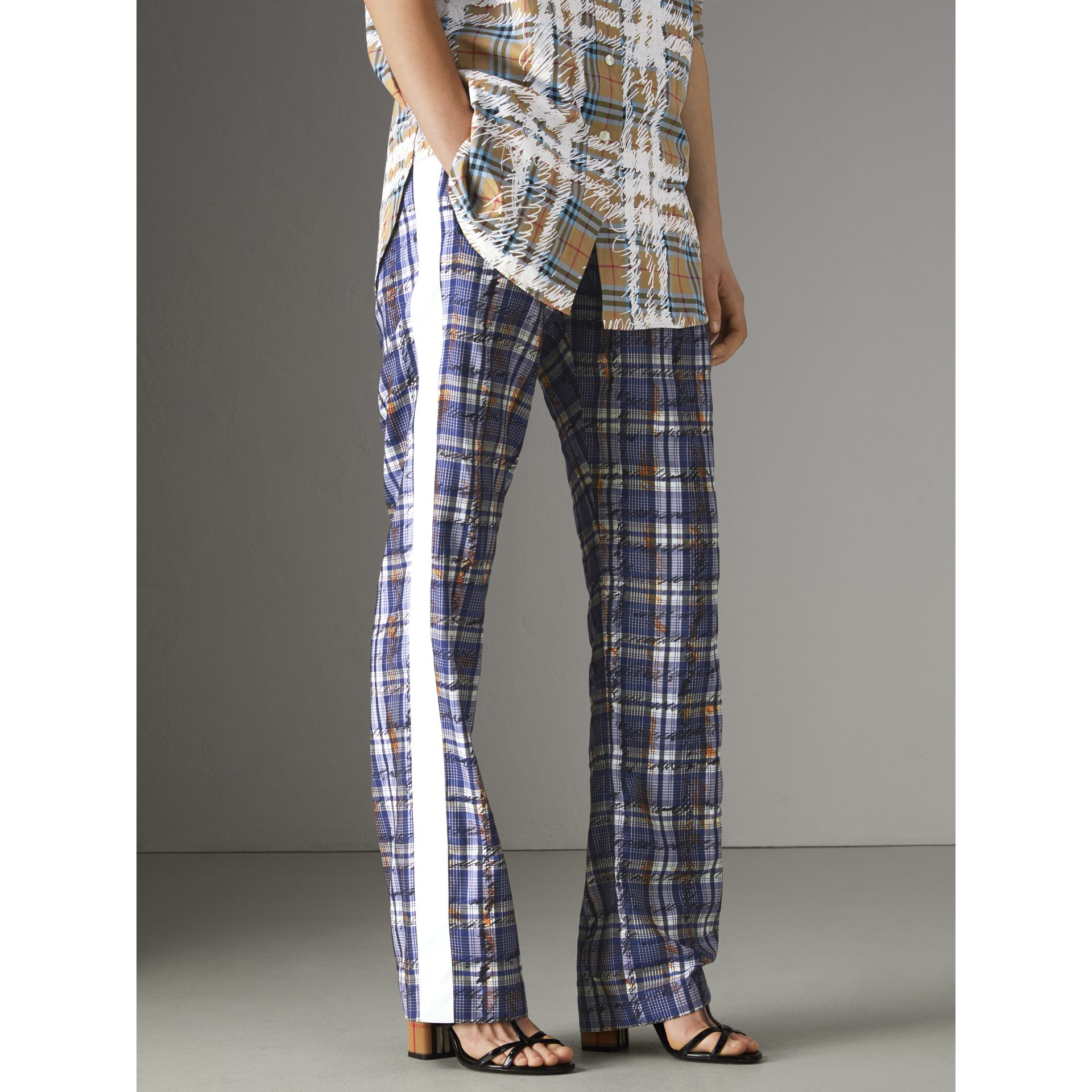 Stripe Detail Scribble Check Silk Tailored Track Pants in Navy/white - Women | Burberry Australia - gallery image 5