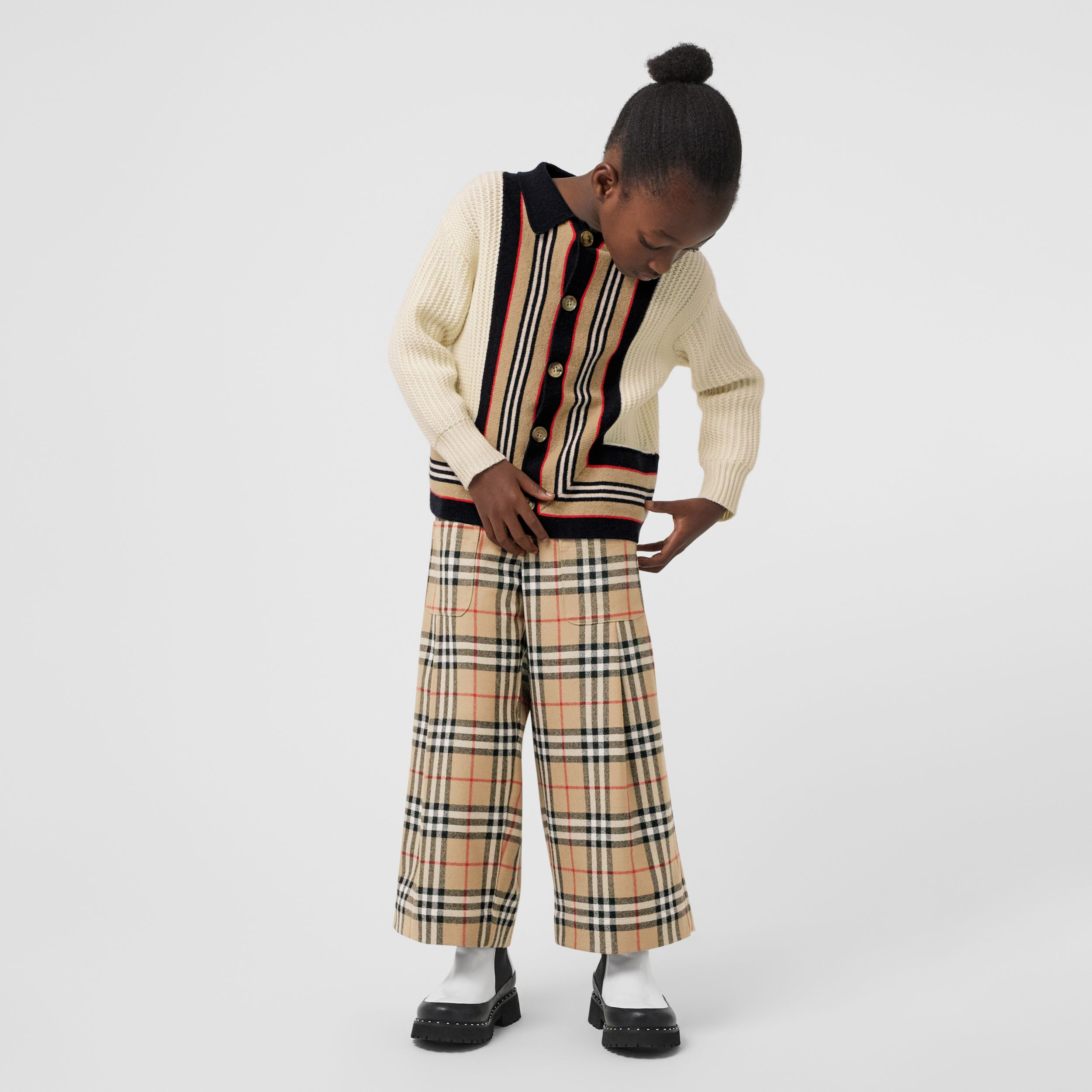 Vintage Check Wool Sailor Trousers in Archive Beige | Burberry - 3
