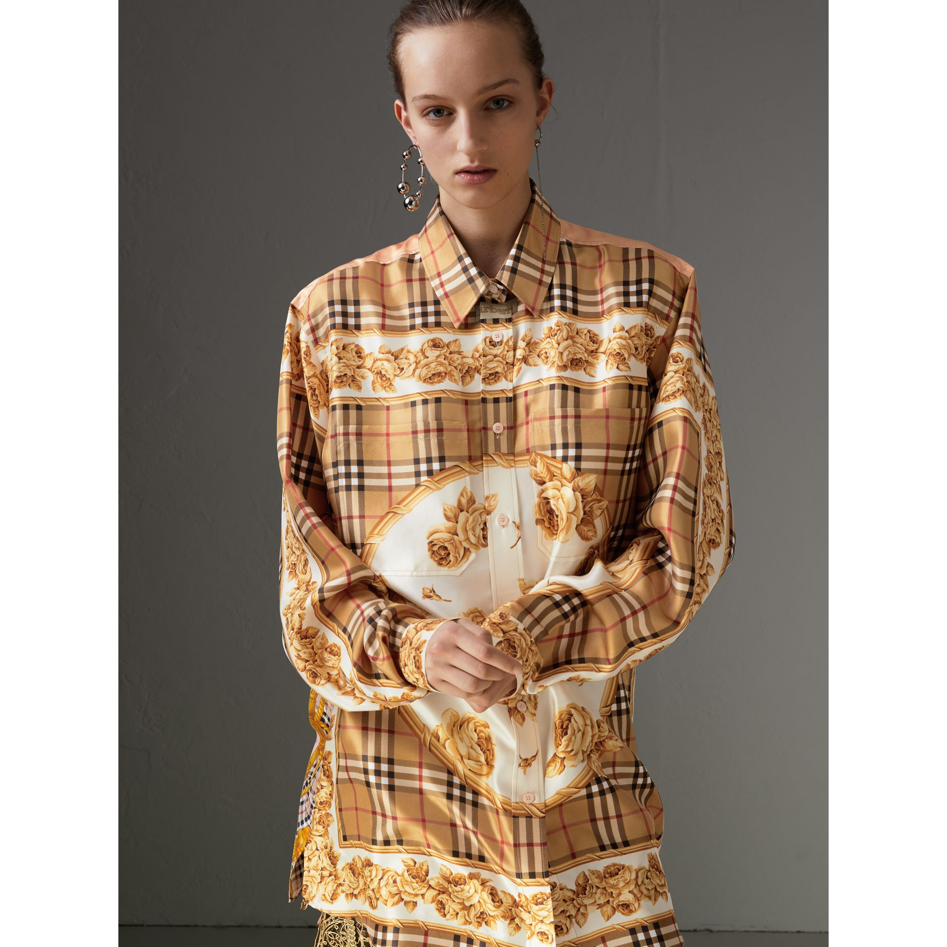 Archive Scarf Print Silk Shirt in Antique Yellow - Women | Burberry - gallery image 0