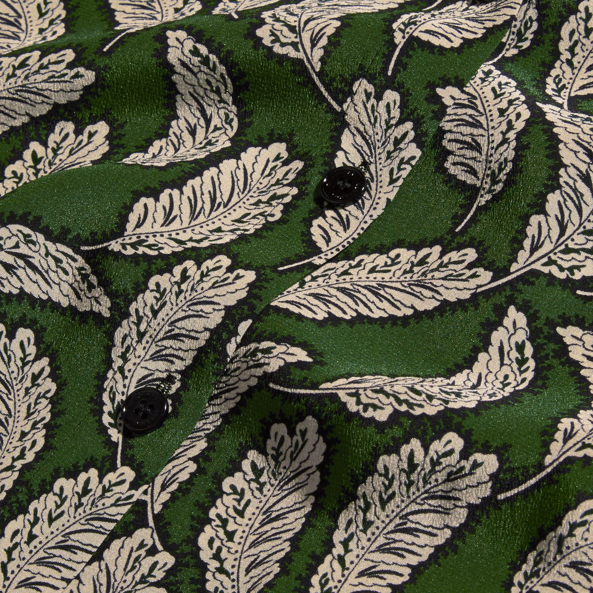 Dusty green Leaf Print Silk Shirt Dusty Green - gallery image 2