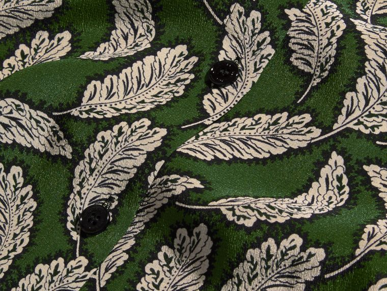 Dusty green Leaf Print Silk Shirt Dusty Green - cell image 1