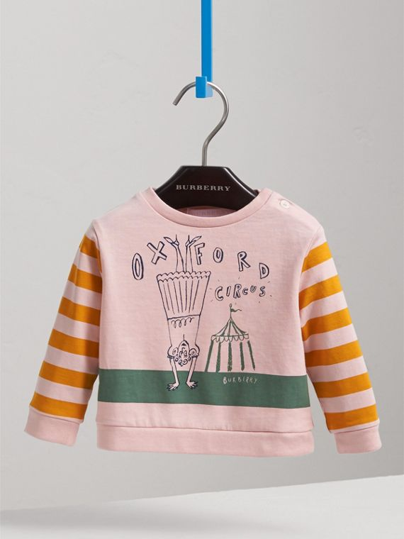 Long-sleeve London Icons Print Cotton T-shirt in Chalk Pink | Burberry - cell image 2