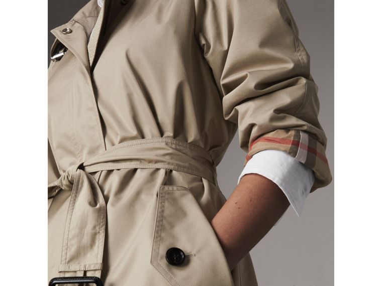 Detachable Hood Cotton Blend Car Coat in Stone - Women | Burberry United Kingdom - cell image 1