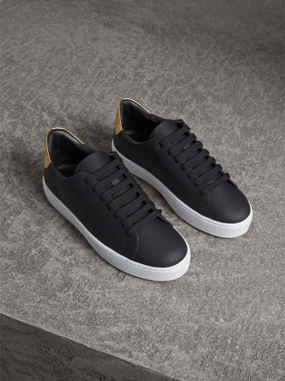 Perforated Check Leather Trainers in Black