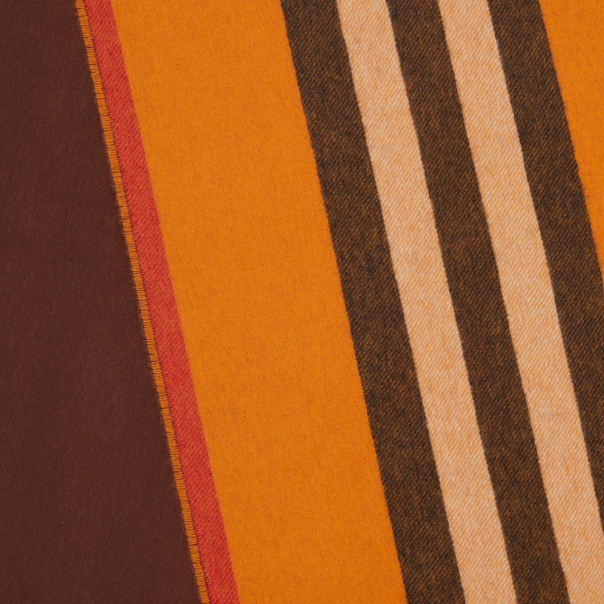 Reversible Icon Stripe Cashmere Scarf in Orange | Burberry - gallery image 1