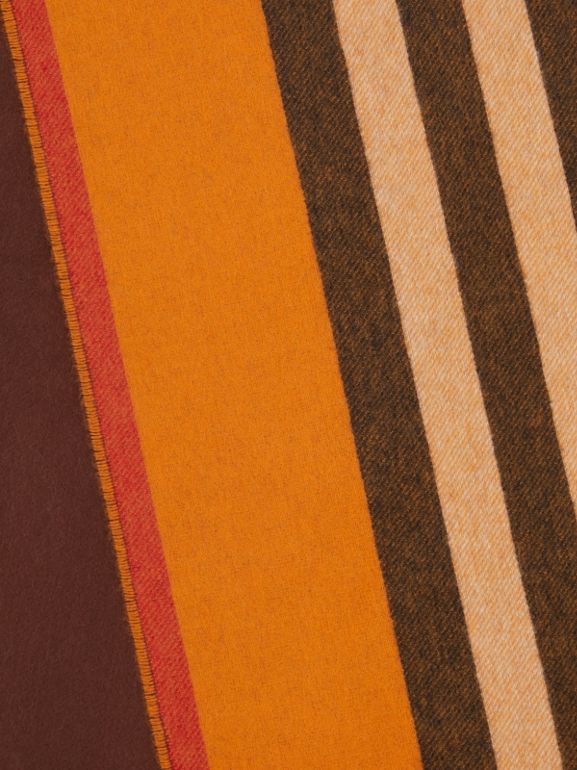 Reversible Icon Stripe Cashmere Scarf in Orange | Burberry - cell image 1
